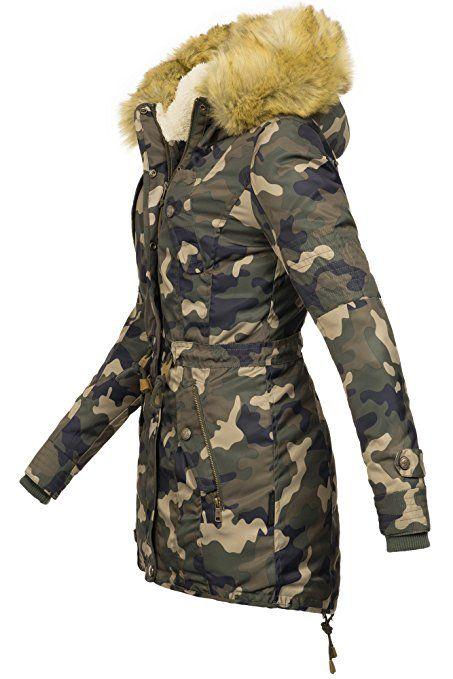 Navahoo warme Damen Winter Jacke Teddyfell Winterjacke Parka