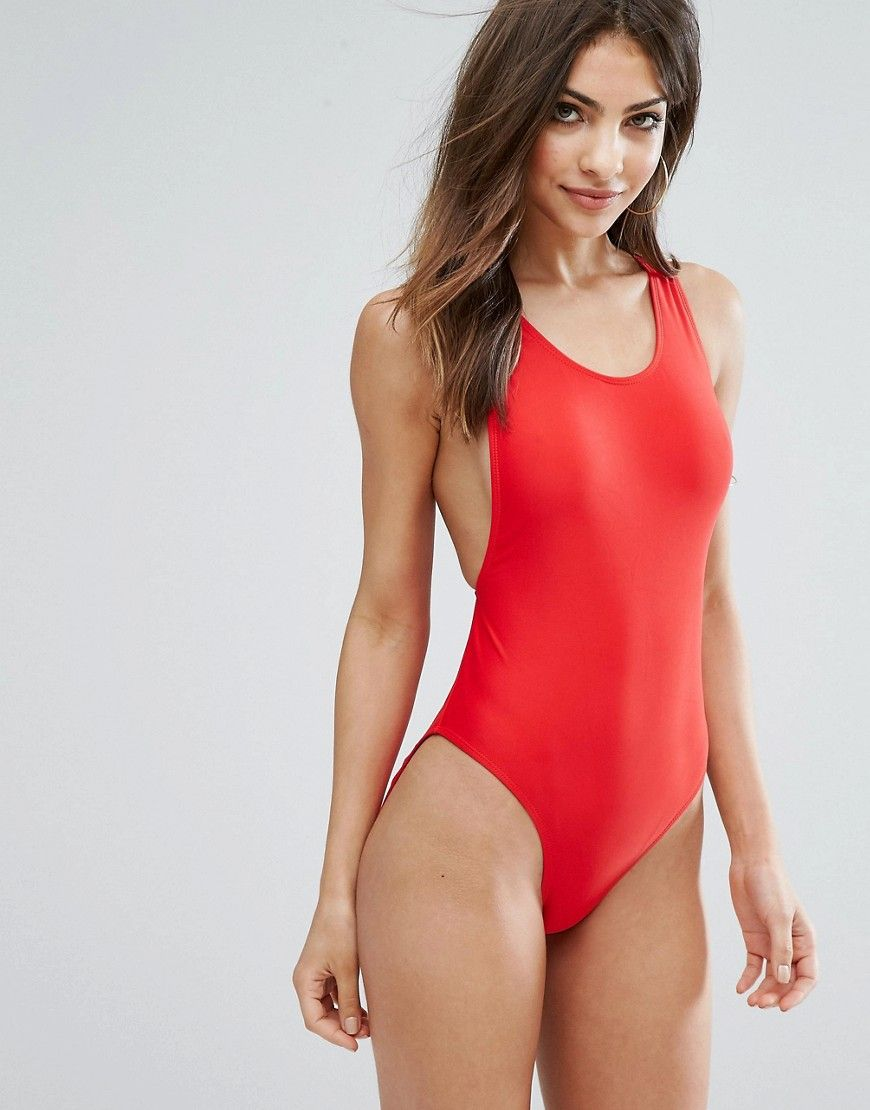 33fb4e1eb Missguided High Leg Swimsuit - Red