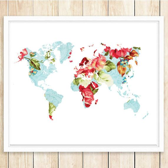 This is an INSTANT DOWNLOAD! 16x20 and 11x14 Large Floral World Map - best of world map poster time zones
