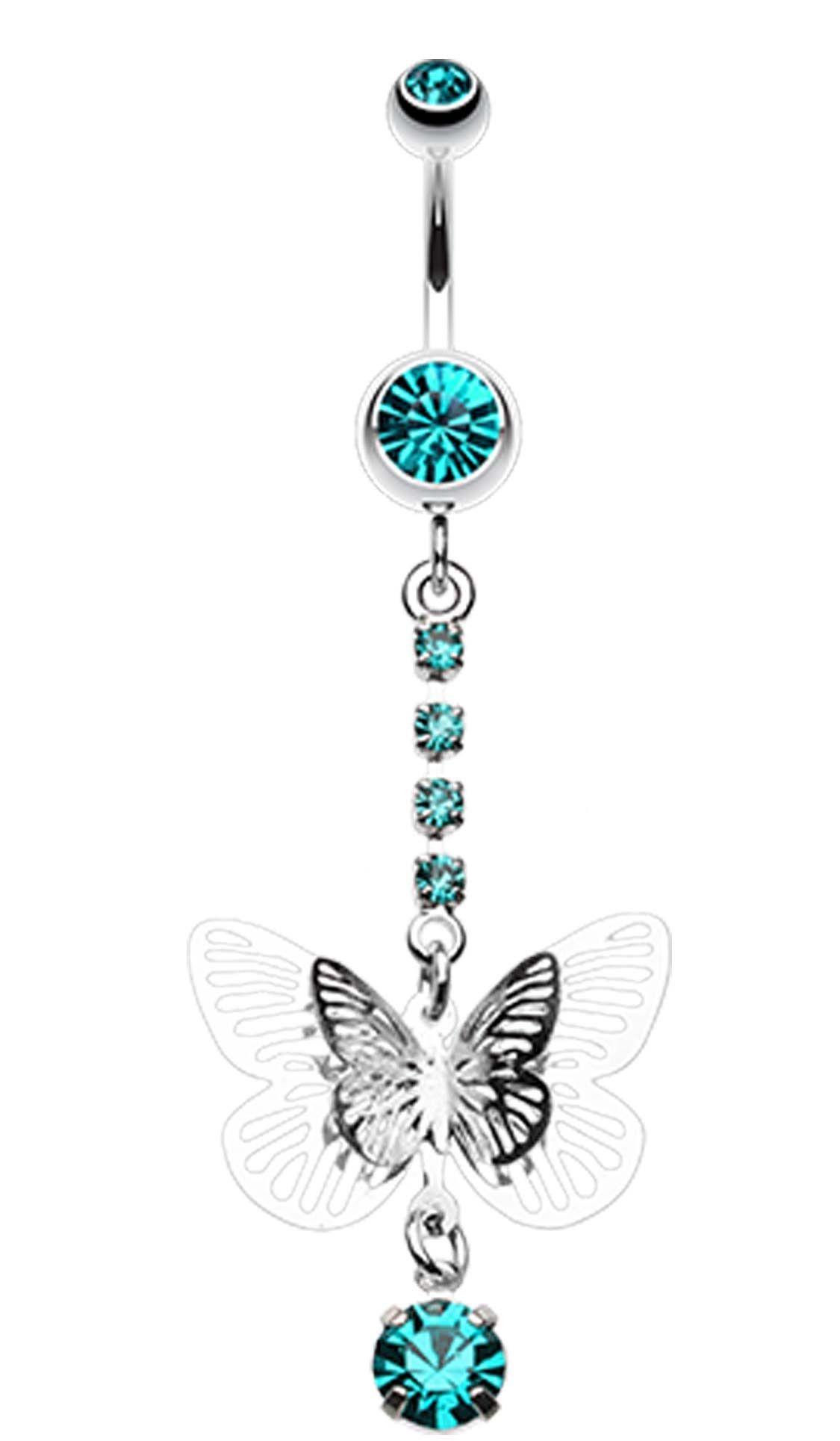 Gold belly piercing jewellery  Sparkle Flutter Butterfly Belly Button Ring  Belly button