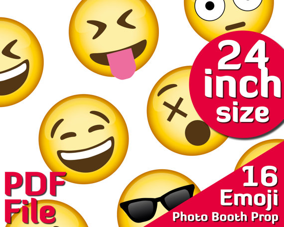 Emoji Birthday Photobooth Party Printable Supplies 24 Inch Emoji