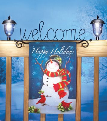 Holiday Welcome Flag Fence Topper with Solar Lights Holidays and - solar christmas decorations
