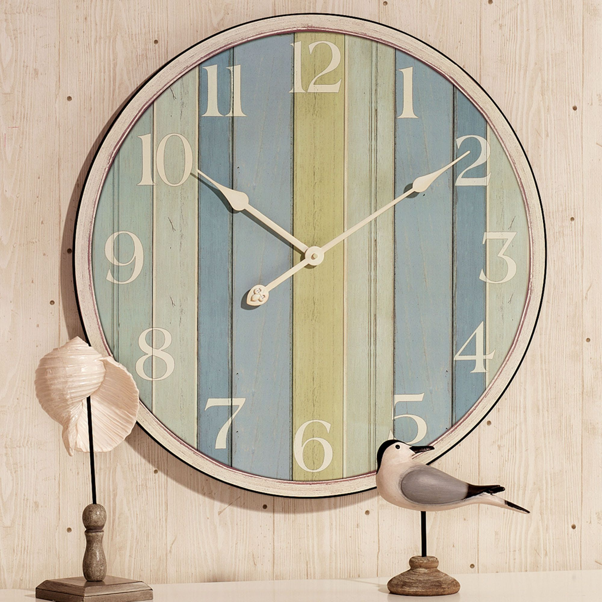 Nautical Striped Wooden Wall Clock Wall Clocks Clocks And Walls