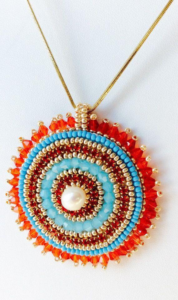 Handmade Pendant Swarovski crystals pendant by SplendidBeadsBklyn