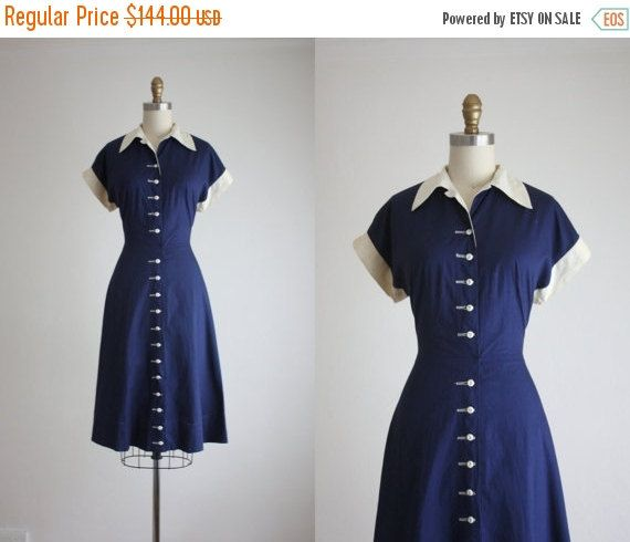 BLACK FRIDAY 1950s sapphire sea dress by 1919vintage on Etsy