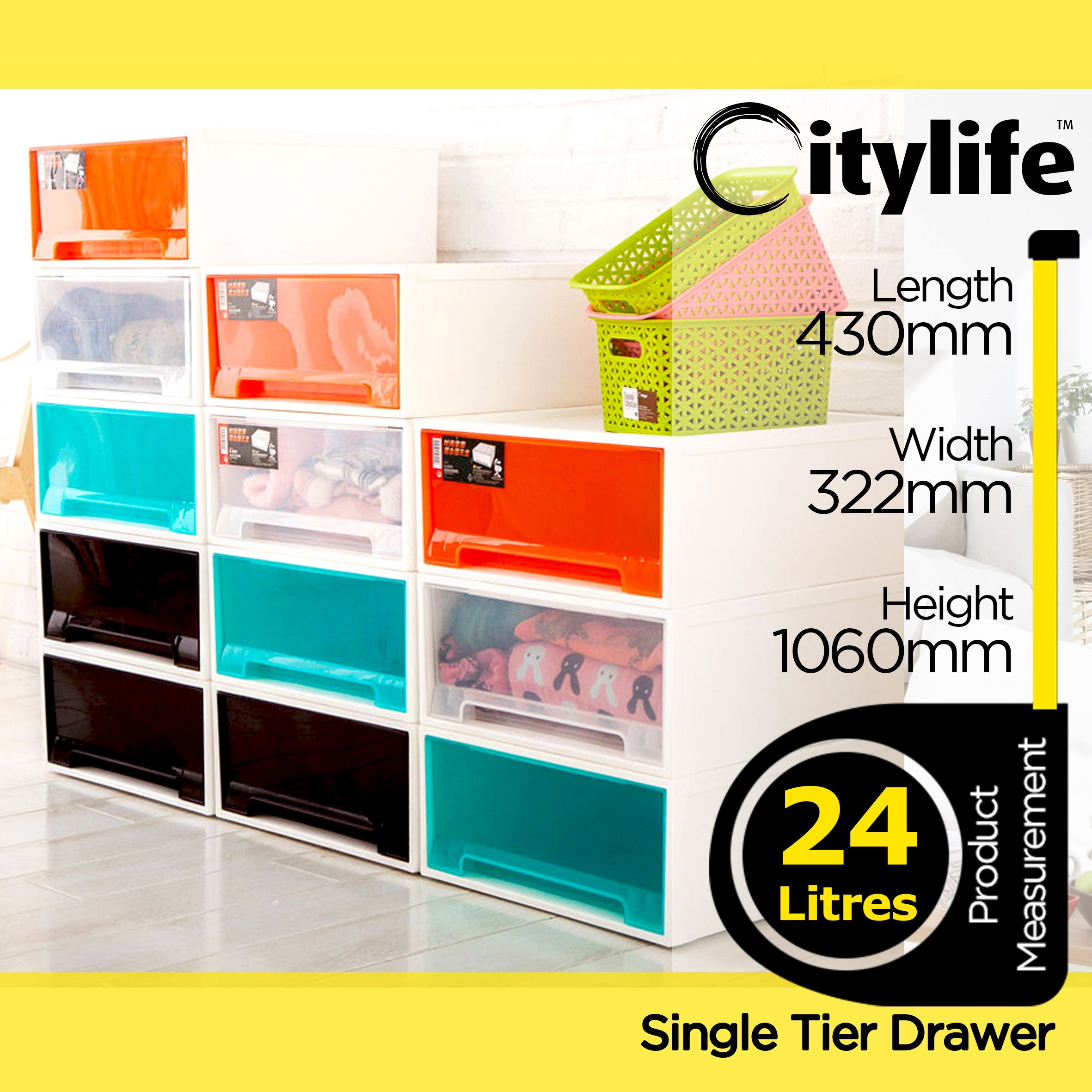 Citylife Online Exclusive 24l Signature Single Tier Drawer Bundle Of 4 Free Delivery