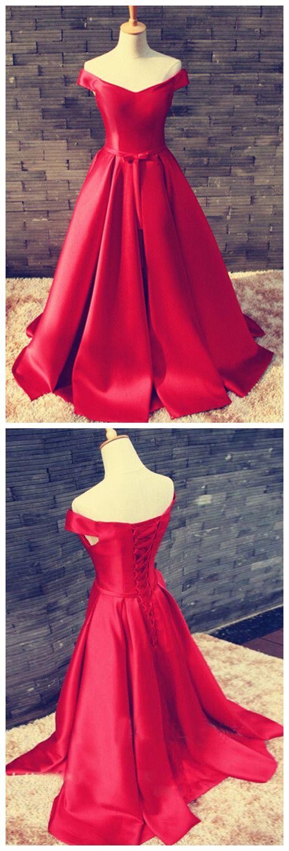 Red prom dressessatin prom dressoff the shoulder prom dresses