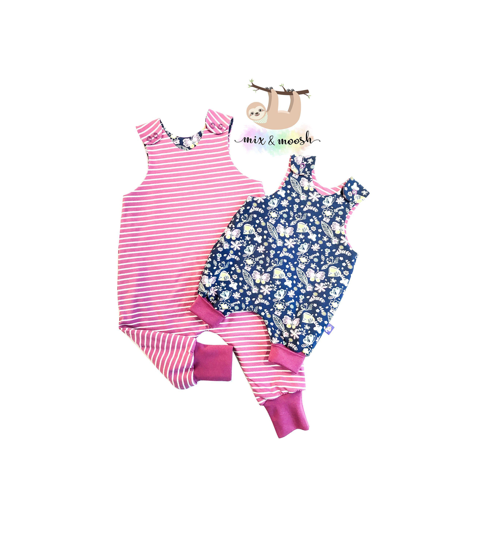 Baby pink dungaree dress  Baby Organic Romper  Fully Reversible Organic Romper  Baby