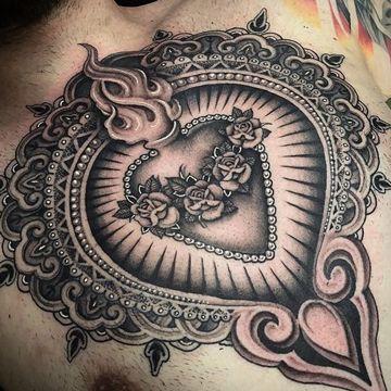 tatuajes del sagrado corazon para pecho tatuajes Pinterest