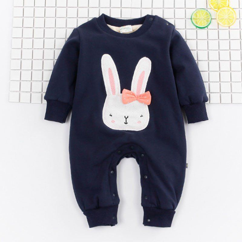 Cute Bunny Hoodie Thicken Jumpsuits Baby Costume Newborn Coveralls Rompers Bunny Hoodie Baby Costumes Cute Bunny