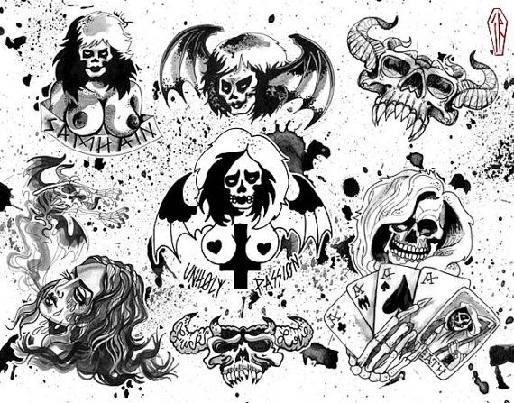 halloween tattoo flash danzig misfits samhain print signed and numbered by the artist pinterest. Black Bedroom Furniture Sets. Home Design Ideas