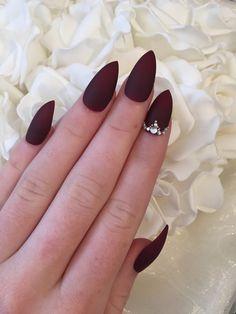 Burgundy Matte Stiletto Nails Design With Rhinestones Burgundy Nails Matte Stiletto Nails