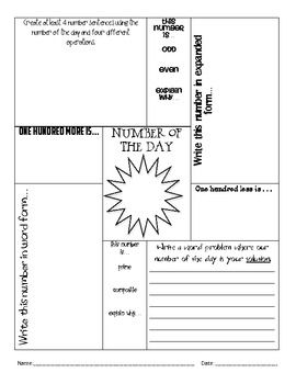 Number Of The Day Worksheet: 17 Best images about Number of the Day Week on Pinterest   Math    ,