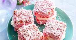 Dianne Ten Haaf Strawberry Lamingtons Ingredients Sponge 1 cup Plain Flour 2/3 cup sugar 3 eggs 3 tbsp Butter (melte...