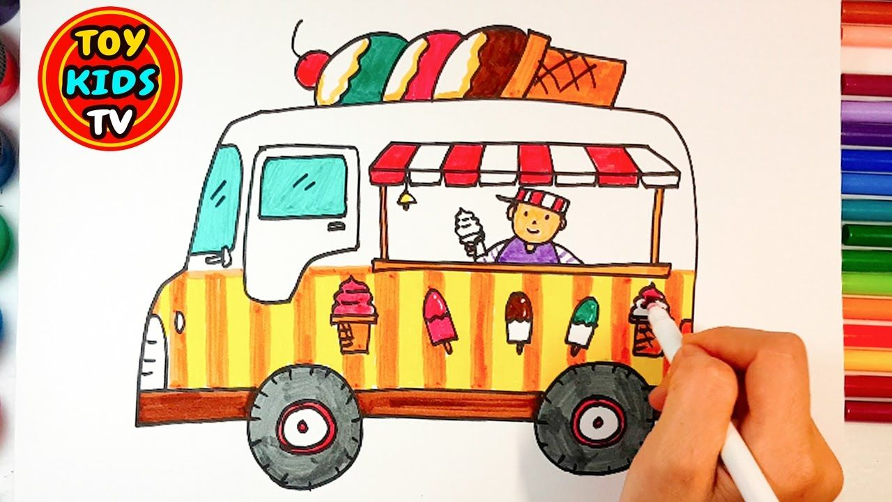 ice cream truck and toy train drawing learn colour painting for chil - Colour Painting For Kids