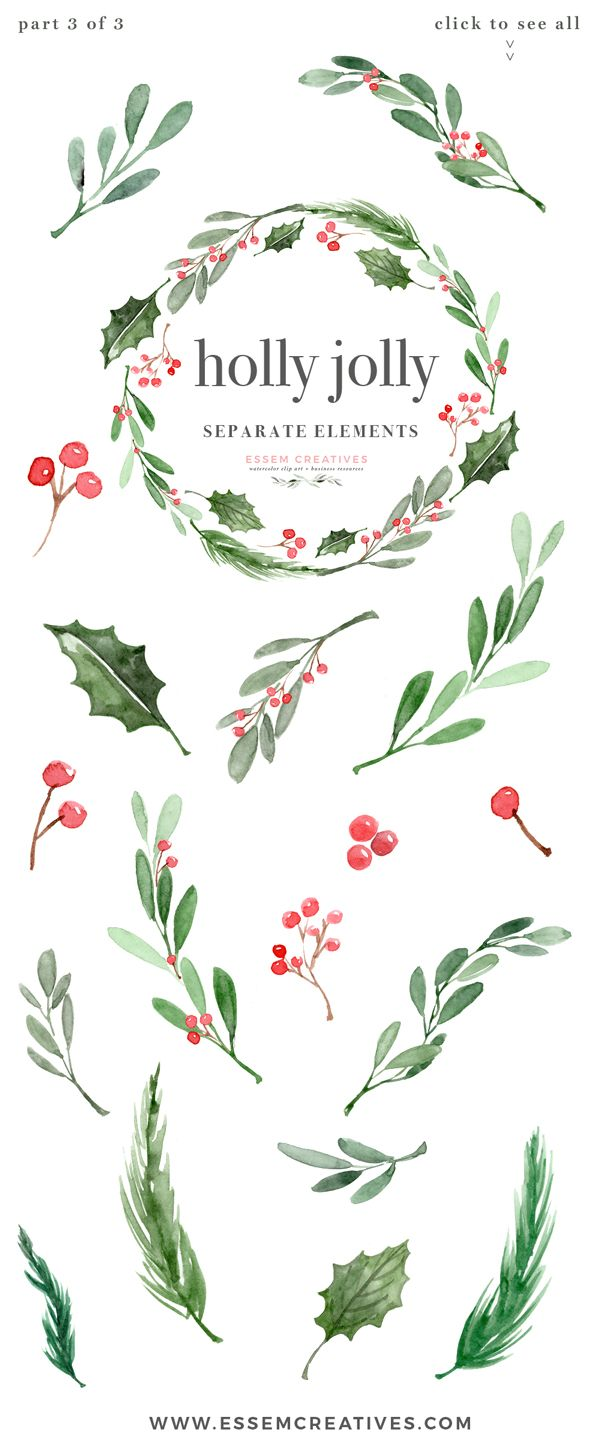 watercolor christmas wreath clipart christmas card templates 5x7