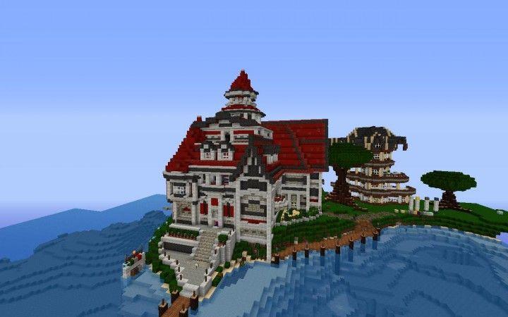 Large Minecraft Island House Minecraft Houses Minecraft Cool Minecraft