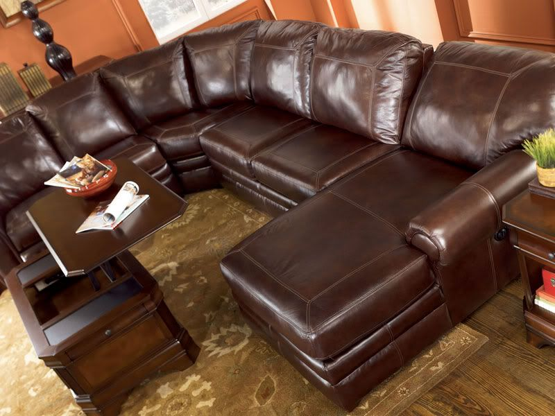 SHERWOOD - GENUINE LEATHER RECLINER SOFA COUCH CHAISE ...