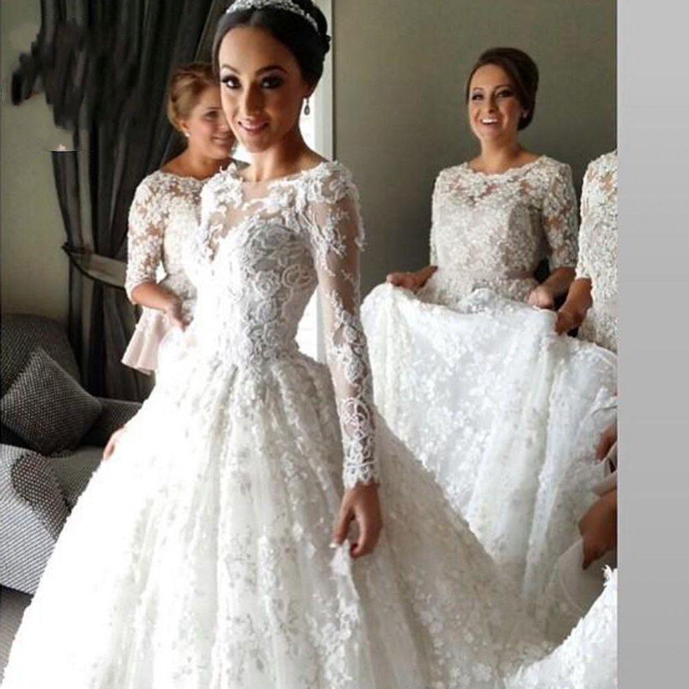 Princess Long Sleeve Lace Wedding Dress Cinderella Wedding Dress With Sleeves Ws082 Long Sleeve Wedding Dress Lace Wedding Dress Sleeves Wedding Dresses Cinderella [ 999 x 999 Pixel ]