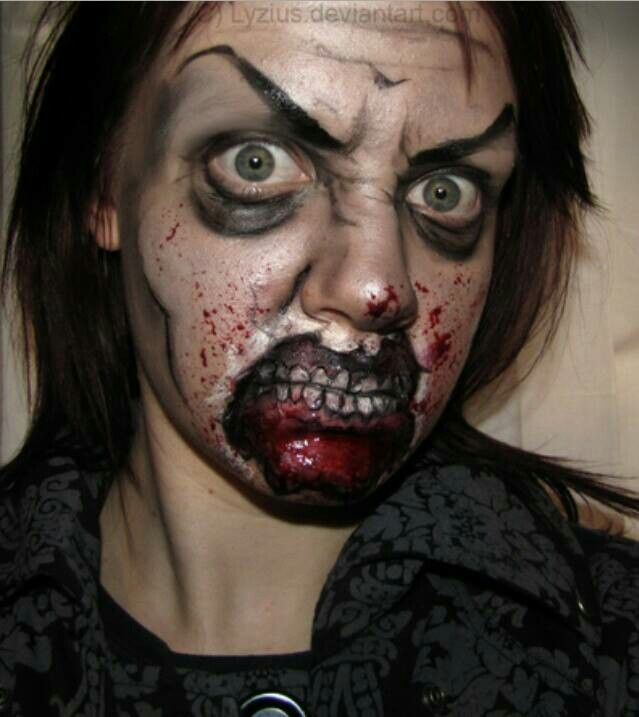 Halloween Looks Scary.Badass Face Painting Zombie Faces Zombie Makeup