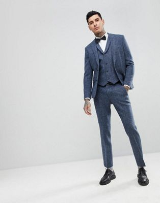 TALL Slim Suit Trousers in 100% Wool Harris Tweed In Blue Mini Check - Blue Asos SEPoZXBW