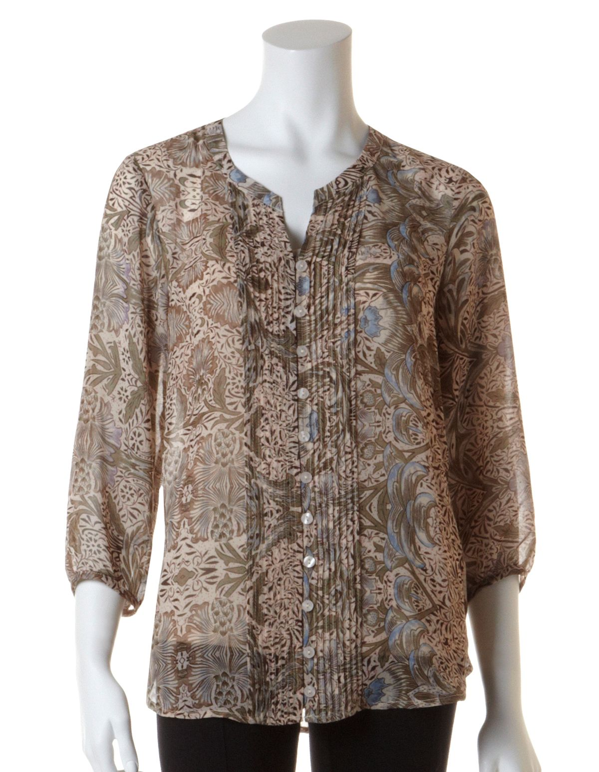 Brown Chiffon Blouse with CamiBrown Chiffon Blouse with Cami, Brown/Blue/Taupe
