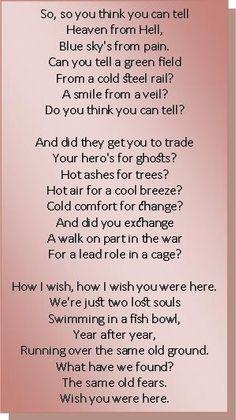 Wish You Were Here - Pink Floyd | Music & Lyrics in 2019