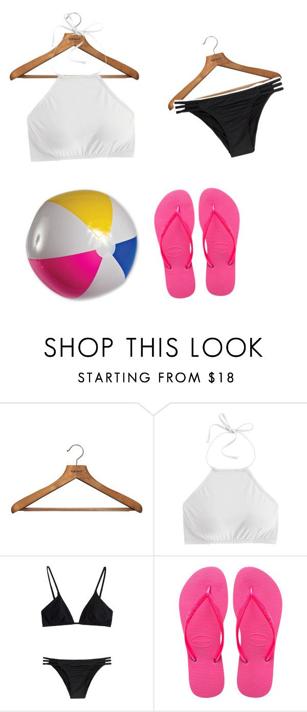 """""""Chicfashions beach outfit"""" by lmonsters ❤ liked on Polyvore featuring PERIGOT, J.Crew, Melissa Odabash and Havaianas"""