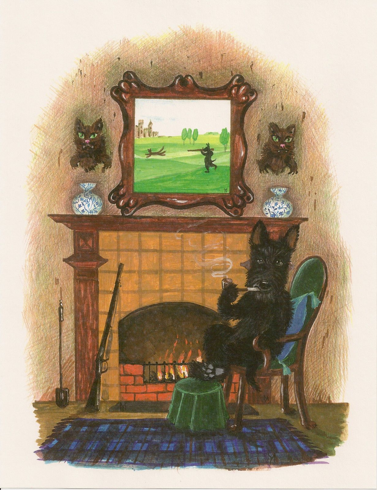 4x6 PRINT OF PAINTING CAIRN TERRIER FOLK ART RAINBOW BRIDGE RYTA DOG WILDLIFE