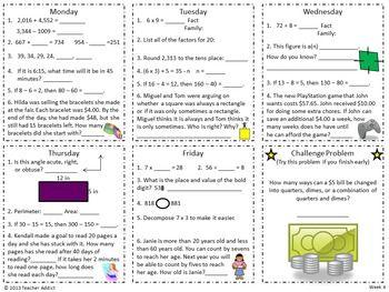 4th Grade Math Morning Work   School   Daily math, Morning