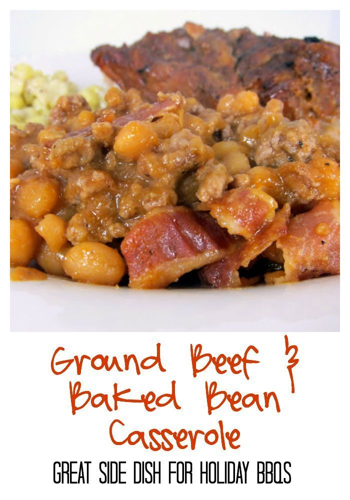 Ground Beef And Baked Bean Casserole Recipe Ground Beef Pork And Beans Baked In A Homemade Bbq Sauce An Baked Bean Recipes Baked Bean Casserole Beef Recipes