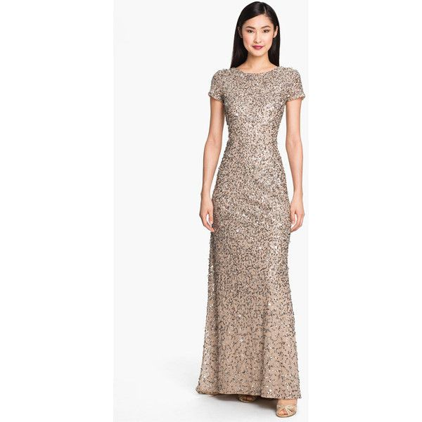 Women\'s Adrianna Papell Short Sleeve Sequin Mesh Gown ($280 ...