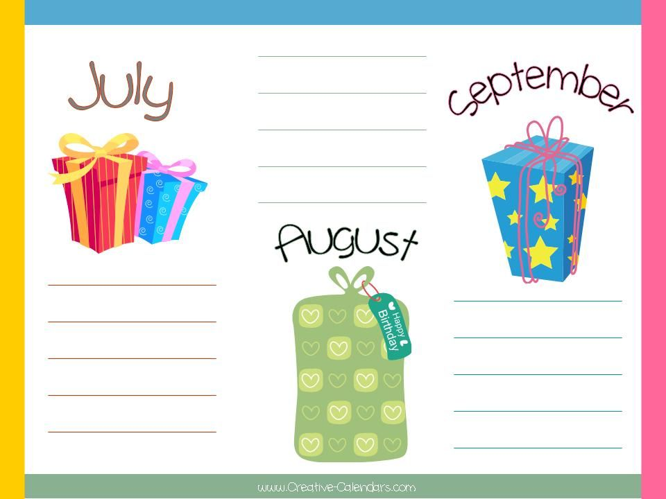 Free+Birthday+Calendar+Templates Lower School resource Pinterest
