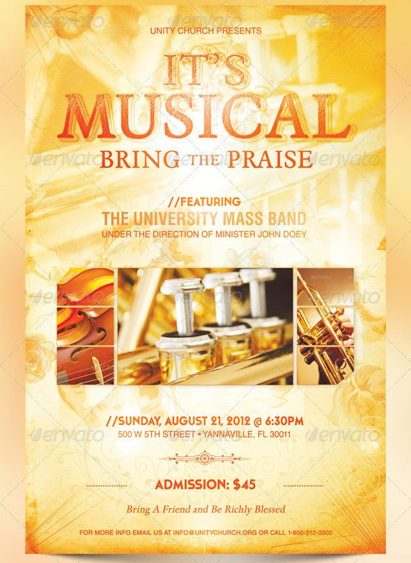Its Musical Event Flyer Ticket And Cd Template Church Print
