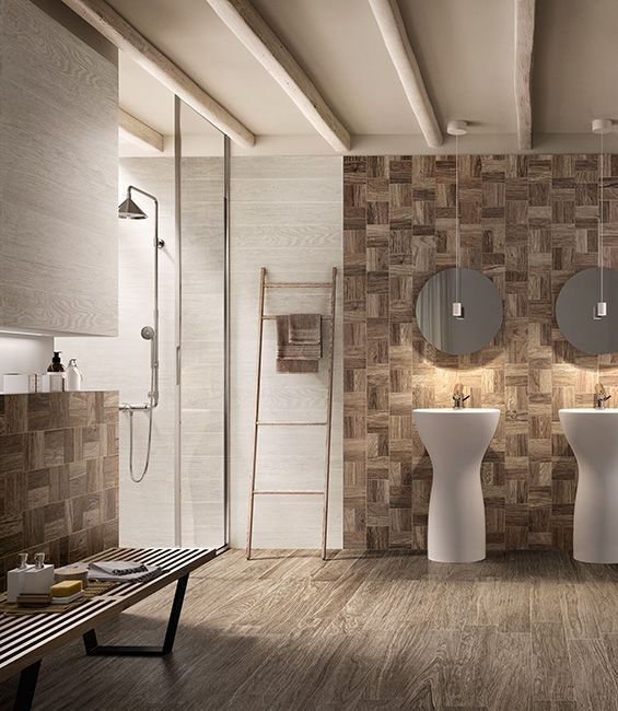 HEJMO: wooden textures suite perfectly also with the bathroom! #woodentile #wood #designtile