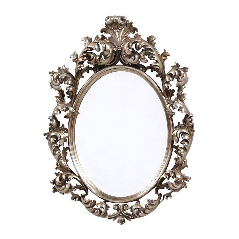 Pretty Oval Rococo Mirror - Silver Finish