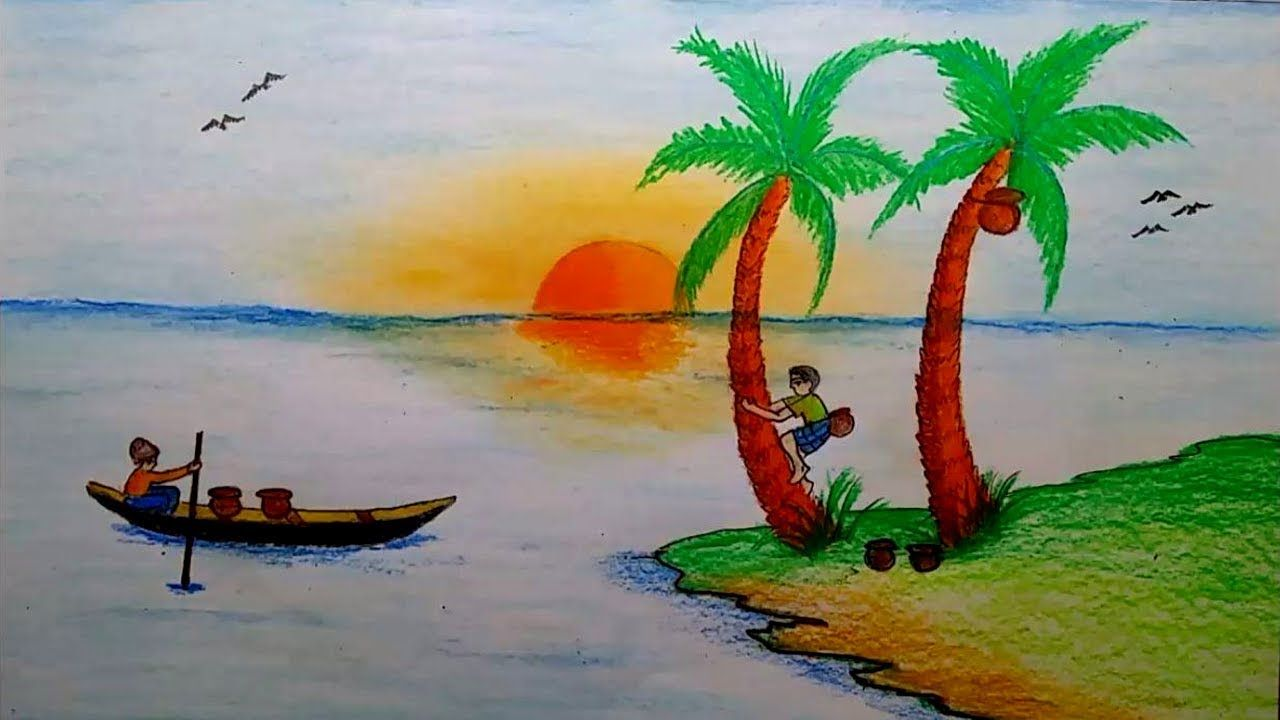 How To Draw Winter Morning Scenery With Titi Oil Pastel Colours