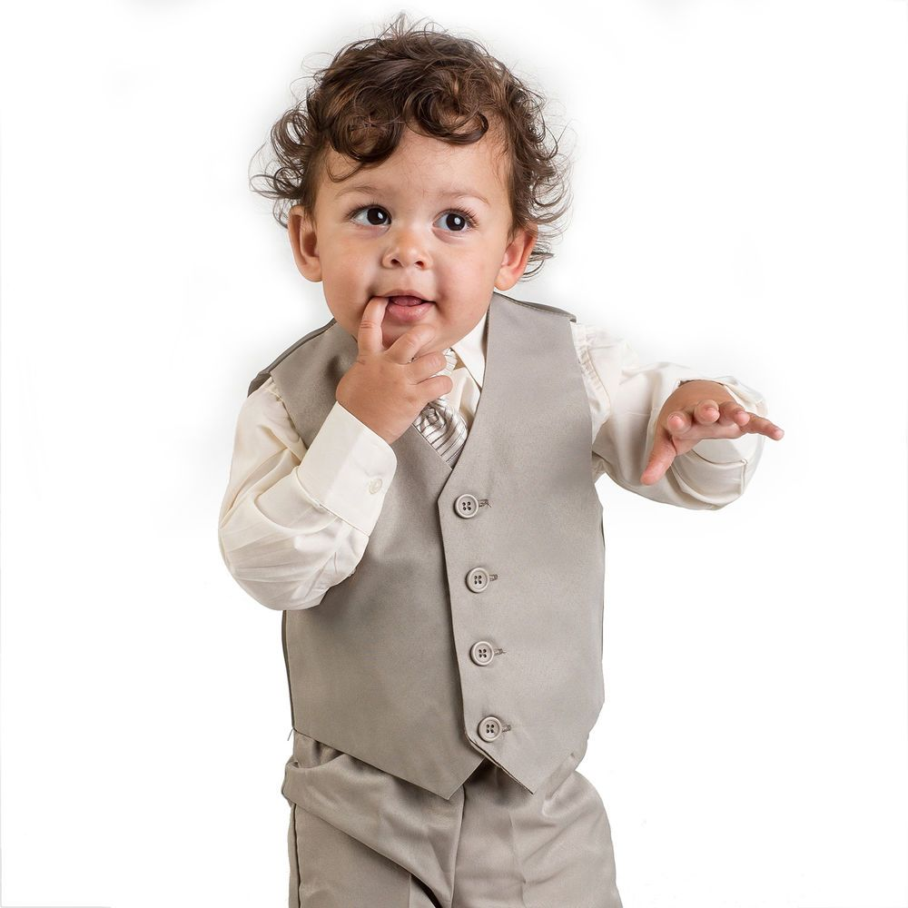 Boys Beige Waistcoat Suit, Baby Boys Suits, Boys Wedding Suits ...
