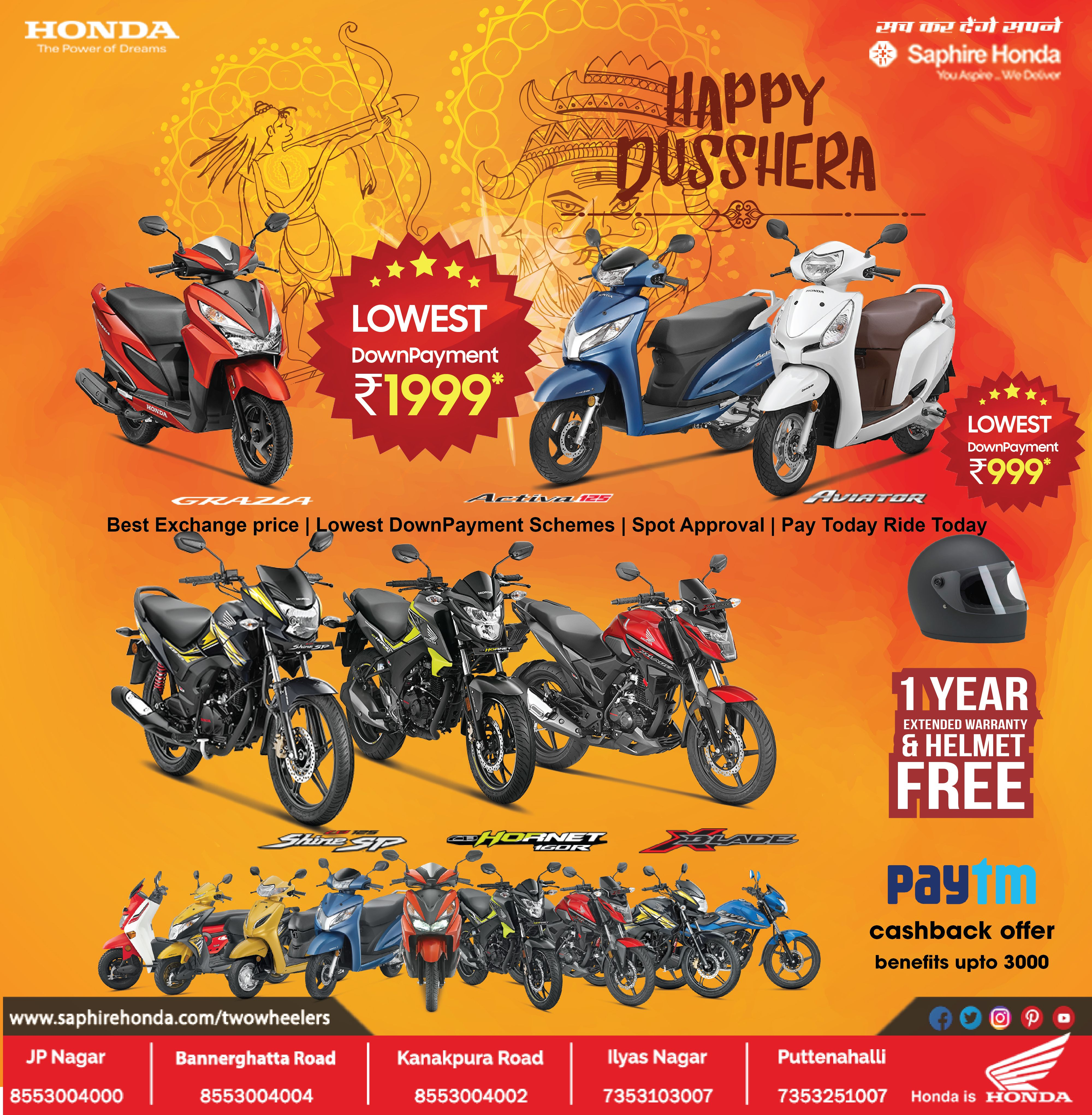 Exclusive Offers On Honda Bikes Saphire Honda Two Wheelers
