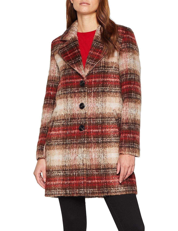 4c57fc74af6f TOM TAILOR Damen Wollmantel - Langer Outdoor Mantel - Karierter Mantel;  langärmlig mit Reverskragen und