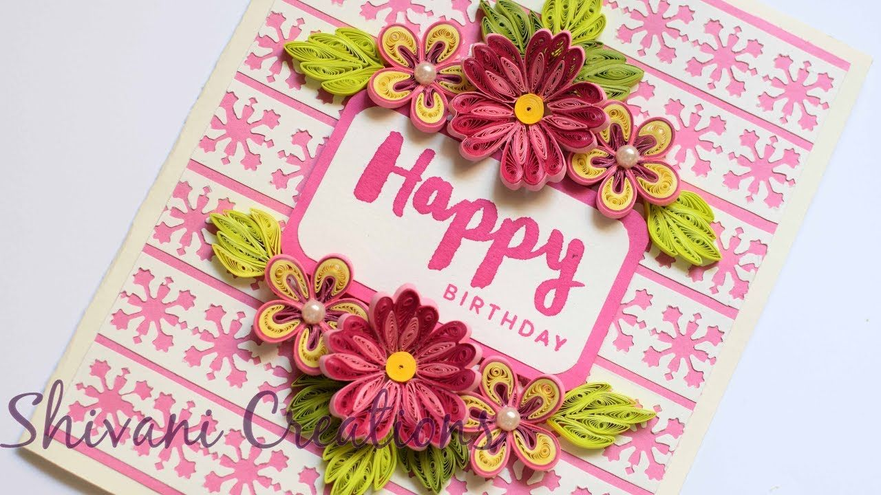 Pink quilled flowers how to make birthday card card background pink quilled flowers how to make birthday card card background using paper punch m4hsunfo