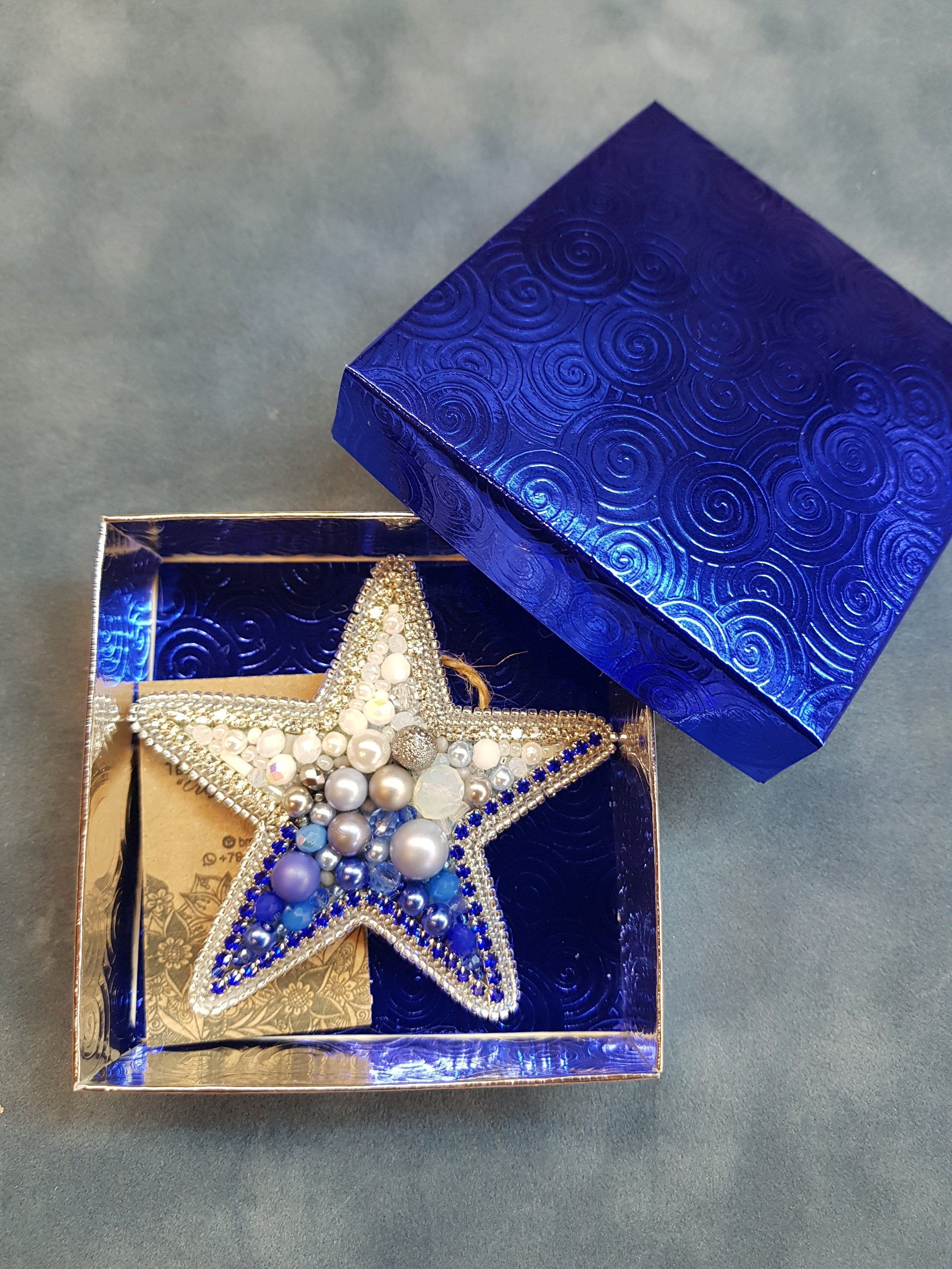 Sea starblue star brooch embroidered brooch for royal