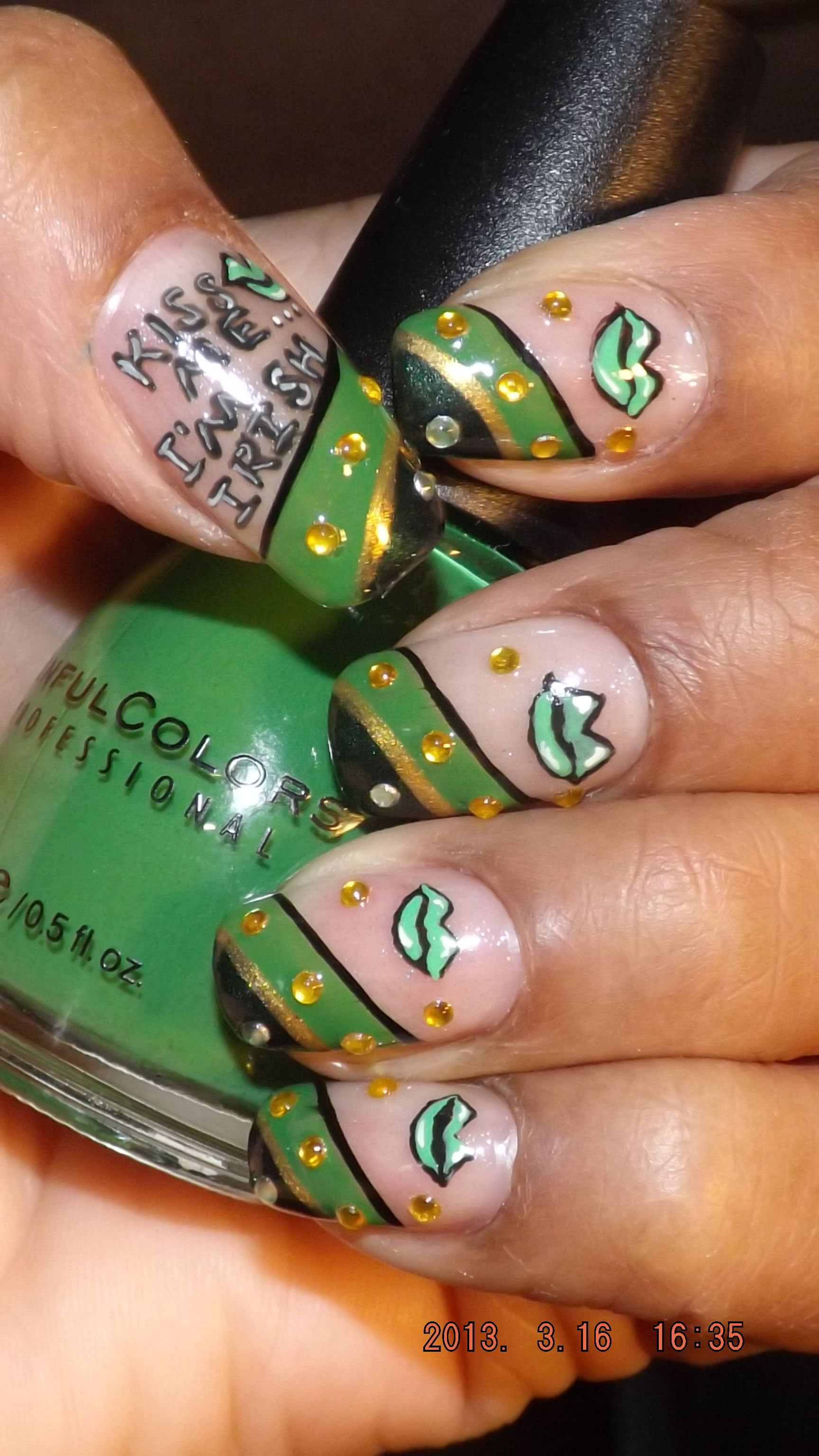 my St Patrick\'s Day nail art design..check out my youtube page for ...