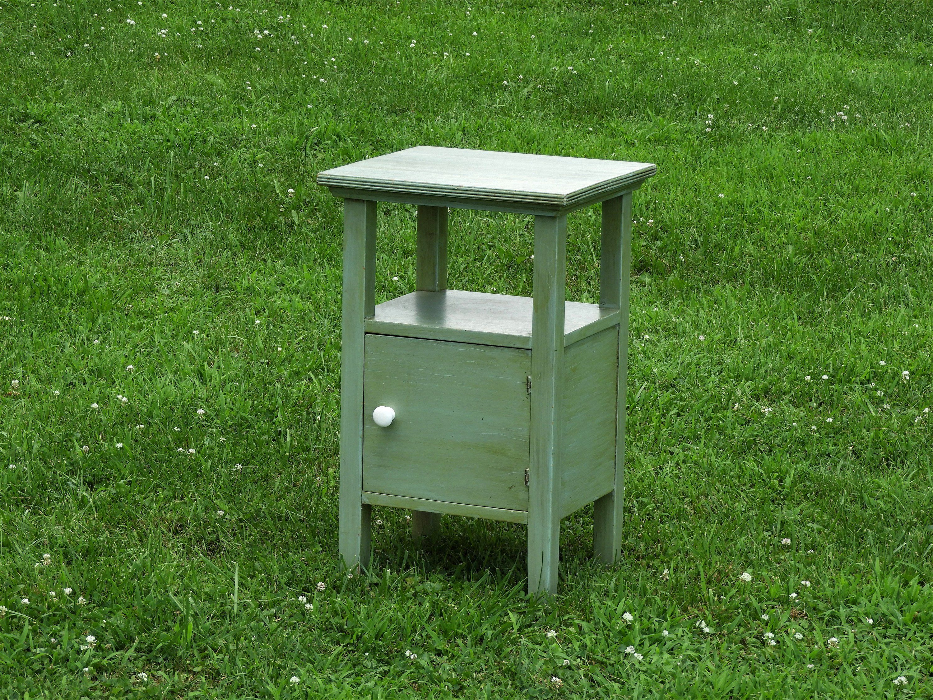 - Vintage Green Accent Table, Decorative Wooden Cabinet, Antiqued