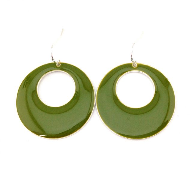 Free shipping New Arrival Green Glaze Enamel Simple Round Drop Earring Gift for New Year 2017