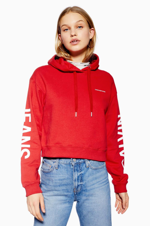 Calvin Klein Modern Cropped Hoodie Sweatshirt | Crop