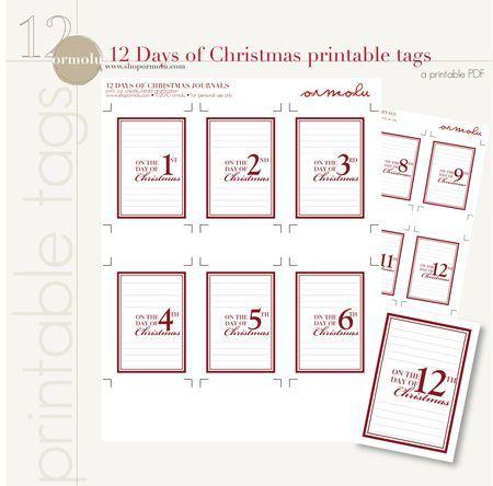 freebie 12 days of christmas tags