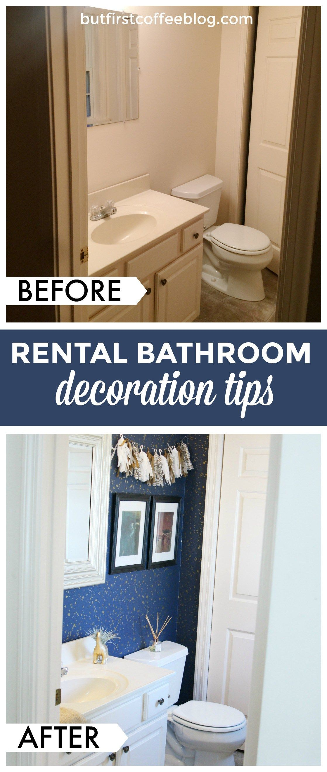 How To Decorate A Small Apartment Bathroom How To Decorate Your Rental Space Bathroom Rental Decor Top