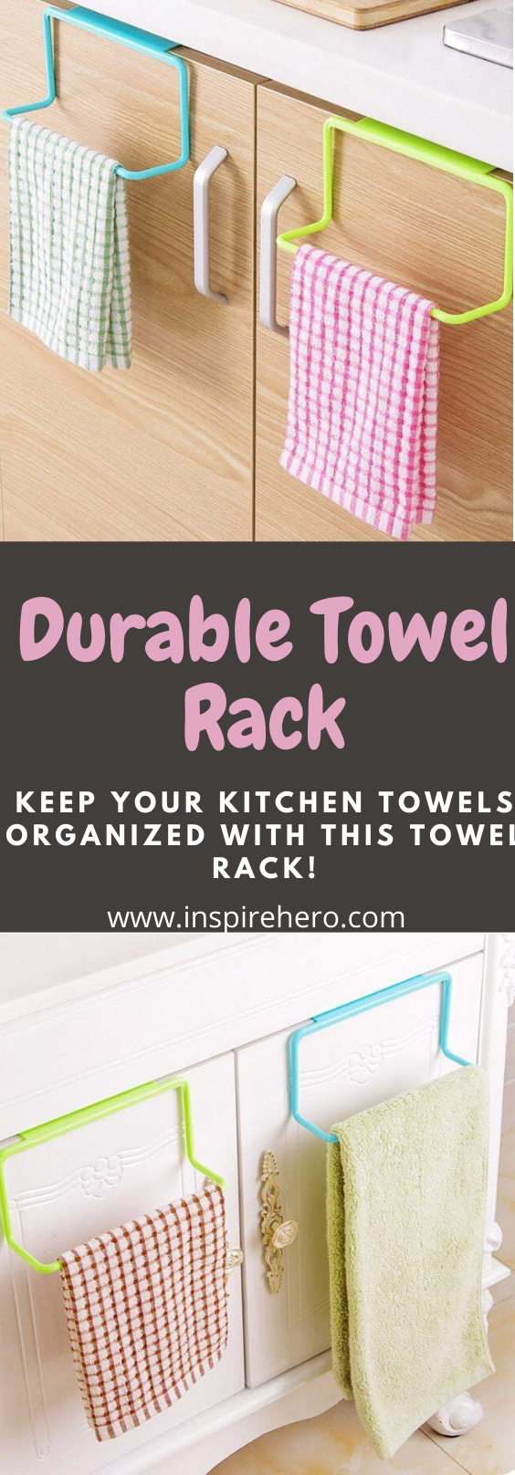 High-quality towel rack organizer that is installed casually with no tool required and removed easily with no damage to the cupboard door surface. Never be limited by space forever. What spot will you put it in? #kitchenorganization #kitchenorganizationideas #kitchenorganizationcaibnet  #kitchenorganizer