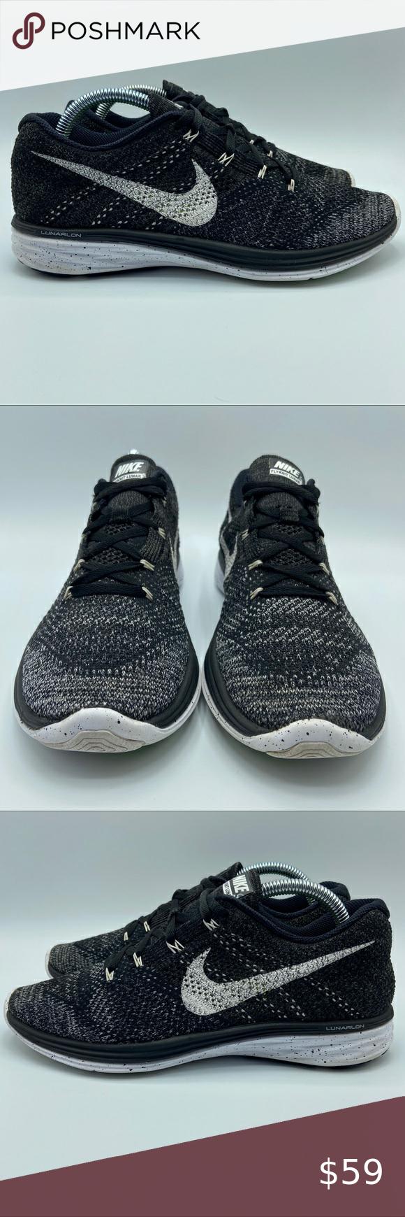 Nike Flynit Lunar 3 Oreo Womens Size 10 Nike Flyknit Lunar 3 Women S Running Shoes Black White Size 10 6 Black Running Shoes Womens Running Shoes Womens Sizes